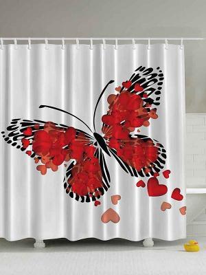 Фотоштора для ванной Цветущая ветка, влюблённая бабочка, розовые цветы, колибри и гибискус, 180x20 Magic Lady. Цвет: красный, белый, оранжевый, черный