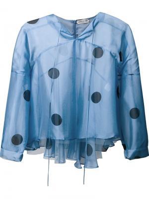 Полупрозрачная блузка с рисунком в горох Natasha Zinko. Цвет: синий
