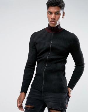 ASOS Черная спортивная куртка в рубчик с красной отделкой на воротнике. Цвет: черный