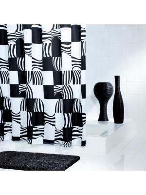 Штора для ванных комнат Swing черный 180*200 RIDDER. Цвет: черный, белый