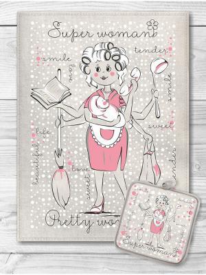 Набор кухонный Супер Мама GrandStyle. Цвет: сиреневый, розовый, белый