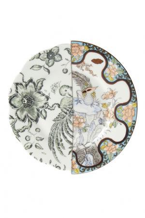 Набор из трех десертных тарелок Seletti. Цвет: белый, разноцветный
