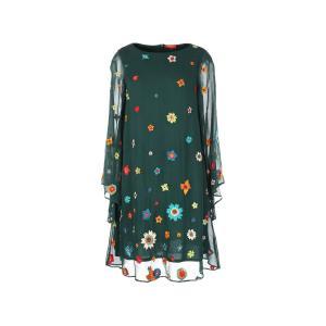 Платье короткое с длинными рукавами и вышивкой RENE DERHY. Цвет: изумрудный