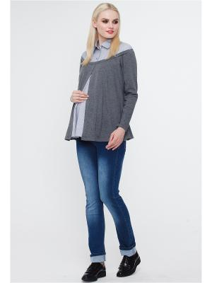 Блузка TUTTA MAMA. Цвет: серый меланж, белый, синий