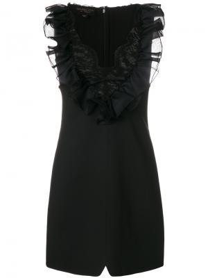 Платье с оборками и кружевом Giambattista Valli. Цвет: чёрный