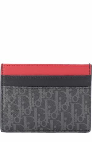 Кожаный футляр для кредитных карт Dior. Цвет: темно-серый