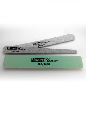 Набор: 2 пилки для натуральных ногтей и полировщик Mozart House. Цвет: серый