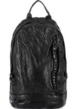 Вместительный кожаный рюкзак с широкими лямками Campomaggi. Цвет: черный