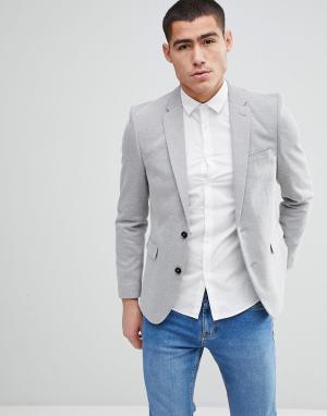 Burton Menswear Серый облегающий блейзер. Цвет: серый