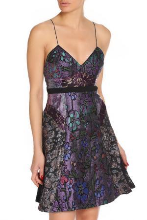 Приталенное платье с бретелями Cynthia Rowley. Цвет: фиолетовый, цветочный принт