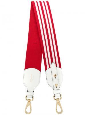 Полосатая лямка для сумки Prada. Цвет: красный