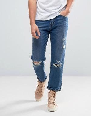 Waven Рваные джинсы с заплатками Skater. Цвет: синий