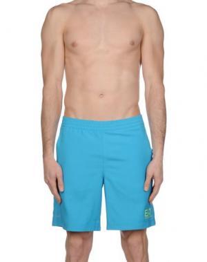Пляжные брюки и шорты EA7. Цвет: бирюзовый
