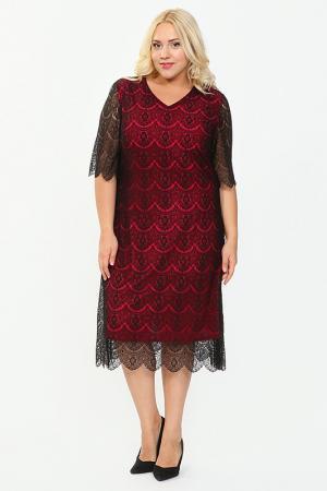 Платье Lia Mara. Цвет: малиновый, черный