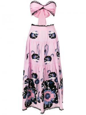 Платье с прорезями принтом маков Yuliya Magdych. Цвет: розовый и фиолетовый