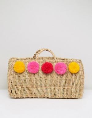 Pitusa Пляжная соломенная сумка с помпонами. Цвет: бежевый