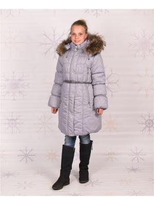 Пальто зимнее для девочки Диана GooDvinKids. Цвет: серебристый