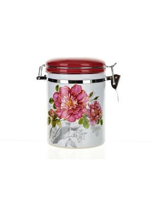 Банка для сыпучих продуктов Райский сад, Polystar. Цвет: розовый