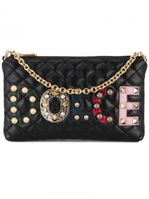 Стеганый кошелек с аппликацией логотипа Dolce & Gabbana. Цвет: чёрный