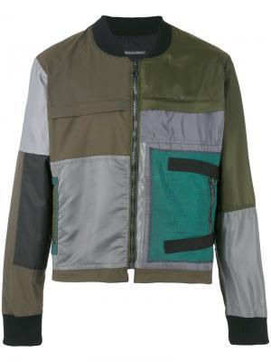 Куртка-бомбер в стиле пэчворк Longjourney. Цвет: зелёный