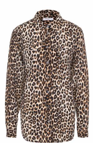 Шелковая блуза прямого кроя с леопардовым принтом Equipment. Цвет: леопардовый
