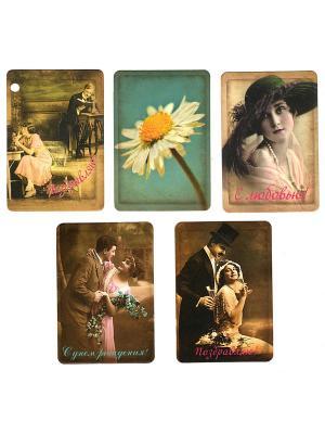 Набор открыток-бирок для подарков Поздравляю Даринчи. Цвет: коричневый