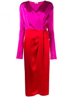 Платье с запахом Gabriela Attico. Цвет: розовый и фиолетовый