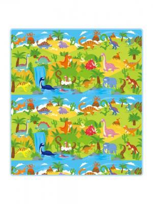 Детский развивающий коврик  Динозавры односторонний 200х180х0,5см Mambobaby. Цвет: голубой