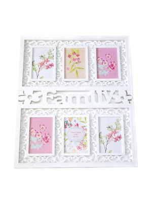 Фоторамка FAMILY на 6 фото 10*15 Msupreme. Цвет: белый