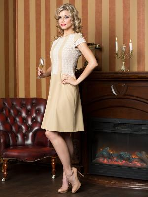 Платье KEY FASHION. Цвет: бежевый