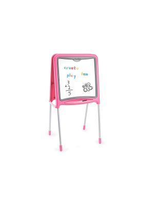 Двухсторонний складывающийся мольберт, розовый, 52*48*105 см, 1/4 Smoby. Цвет: розовый