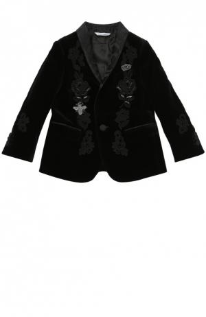 Бархатный пиджак с вышивкой Dolce & Gabbana. Цвет: черный