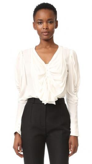 Шелковая блуза с бантом Rodarte. Цвет: оттенок белого