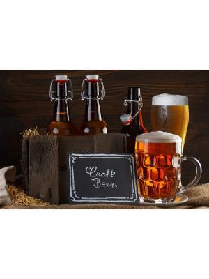 Картина пиво в бутылках Ecoramka. Цвет: черный, коричневый