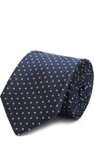 Шелковый галстук с узором BOSS. Цвет: салатовый