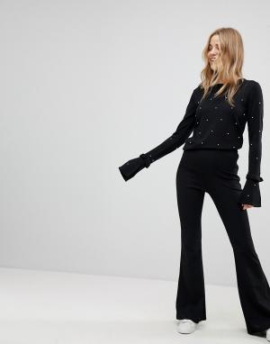 New Look Расклешенные брюки из крепа. Цвет: черный