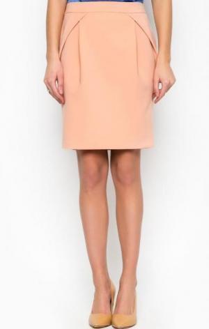 Бежевая юбка оригинального кроя Patrizia Pepe. Цвет: бежевый