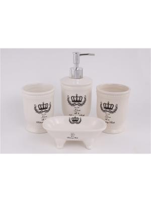 Набор для ванной комнаты 4 предмета: дозатор, подставка под зубные щетки, стакан, мыльница PATRICIA. Цвет: бежевый