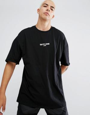Sixth June Черная оверсайз-футболка с маленьким логотипом. Цвет: черный