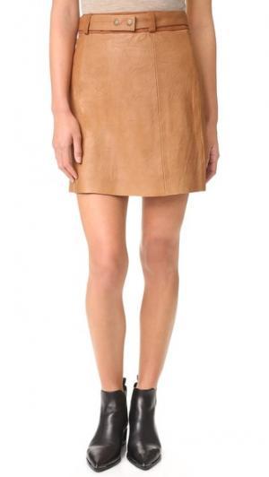 Кожаная юбка Jackson Ryder. Цвет: коричневый