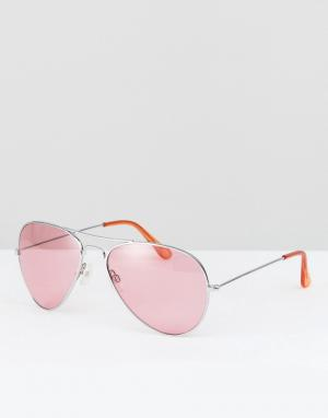 Reclaimed Vintage Солнцезащитные очки-авиаторы с розовыми стеклами Ins. Цвет: синий