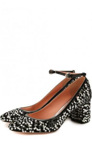 Туфли с вышивкой пайетками на устойчивом каблуке Rochas. Цвет: серебряный