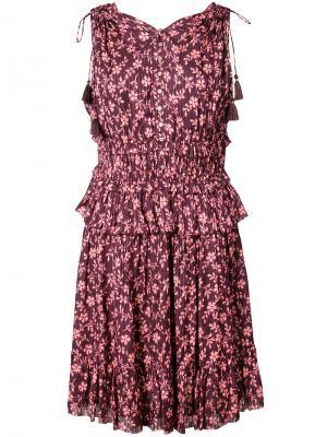 Платье с цветочным принтом Ulla Johnson. Цвет: розовый и фиолетовый