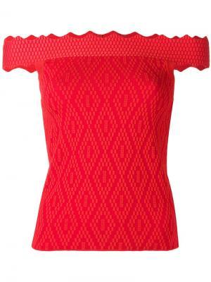 Блузка с открытыми плечами Jonathan Simkhai. Цвет: красный