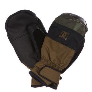 Варежки сноубордические DC Seger Mitt Military Olive Shoes. Цвет: зеленый,черный