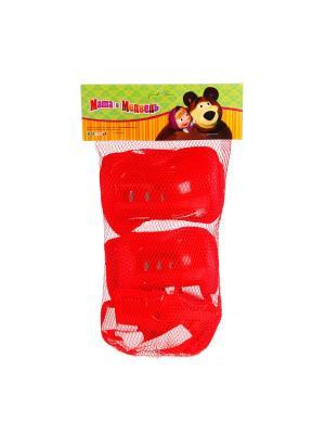 Комплект защиты Маша и медведь для колен, локтей, запястей, р-р S сетчатой сумке. Next. Цвет: красный