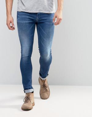 Replay Синие выбеленные джинсы скинни. Цвет: синий