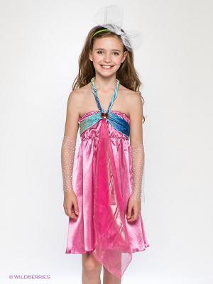 Карнавальный костюм Фея Цветочек Волшебный мир. Цвет: розовый, светло-зеленый, синий