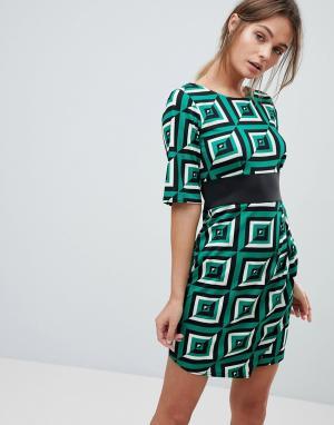 Closet London Платье с принтом. Цвет: зеленый
