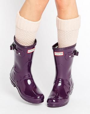 Hunter Короткие блестящие резиновые сапоги Original. Цвет: фиолетовый